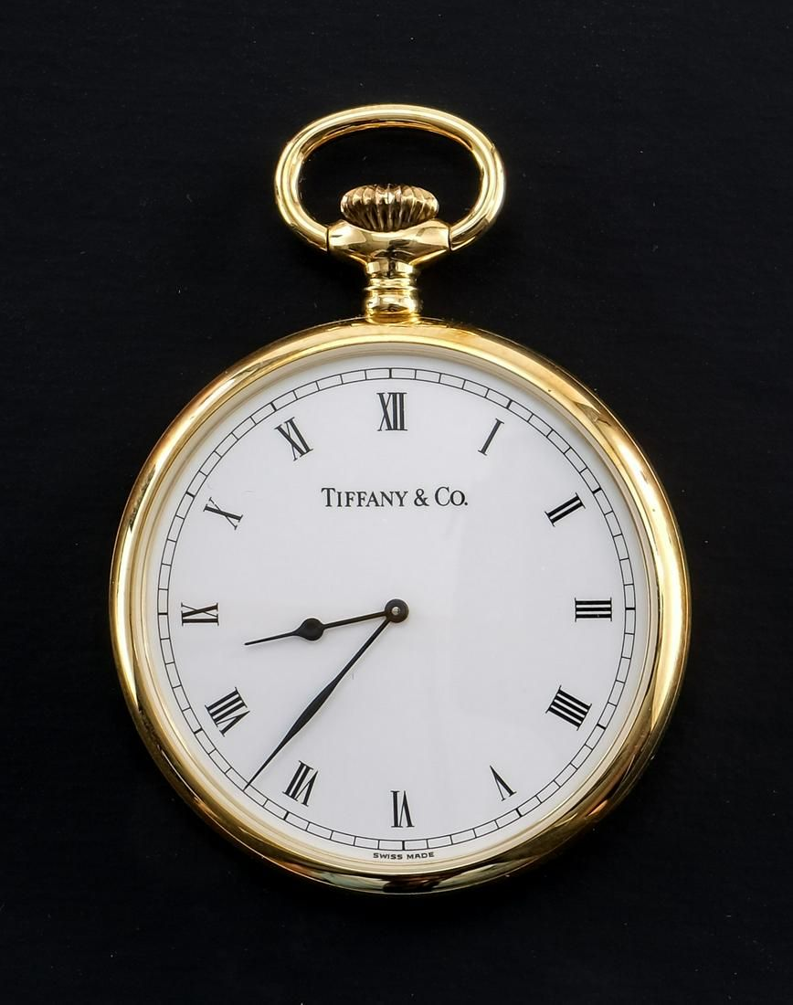 Tiffany & Co. 18K Gold Open Face Pocket Watch