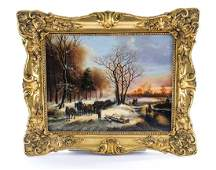 "Polish ""Winter Scene"" Oil on canvas"