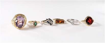 6 Ladies Estate Gemstone Rings