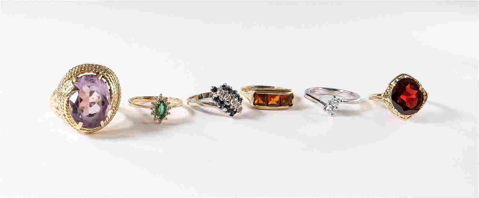 6 Ladies Estate Gemstone Rings