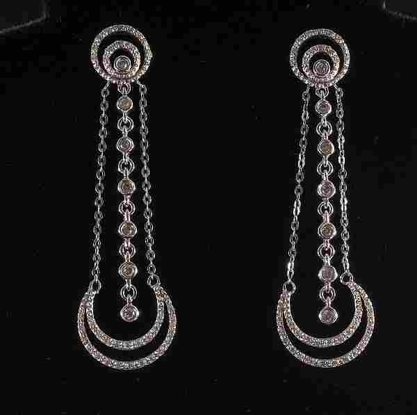 Ladies 14K Diamond Chandelier Earrings