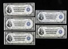 Five 2 Federal Reserve New York Battleship Notes