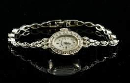 Ladies 14K White Gold Diamond Wrist Watch