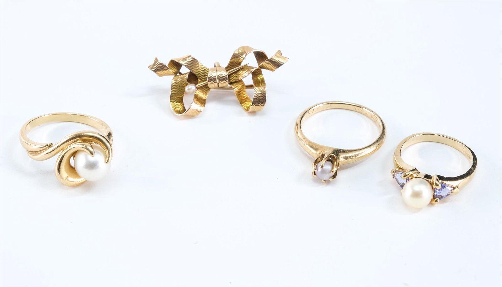 4pcs 14K Gold & Pearl Estate Jewelry