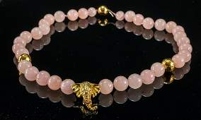 18K Gold and Rose Quartz Elephant Necklace