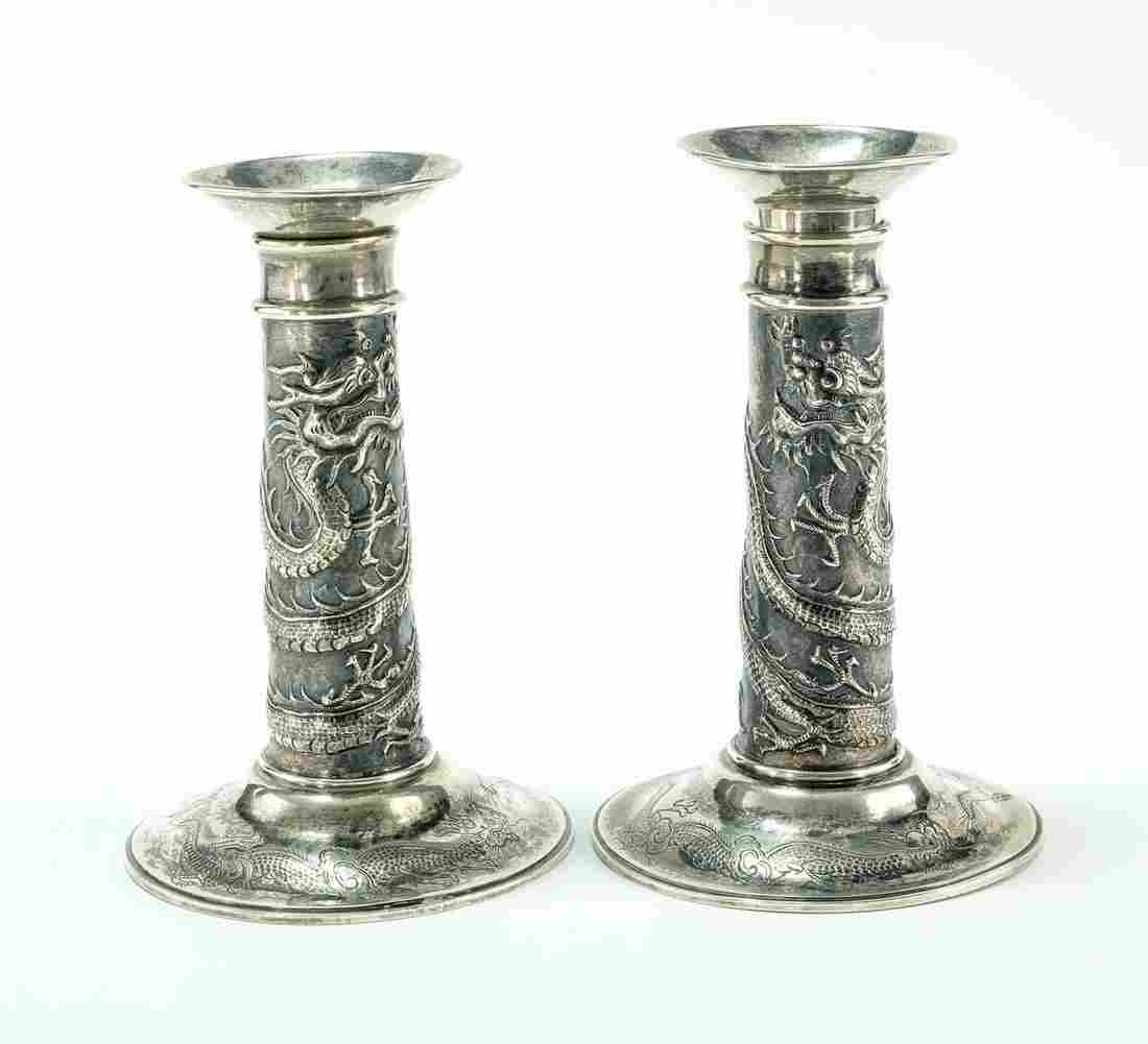 Pair of Chinese Export Silver Dragon Candlesticks
