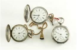 Three Men's Silver Pocket Watches