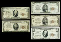 Four Rhode Island National Bank Notes