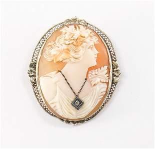 Ladies Antique 14K WG Diamond Cameo Pin
