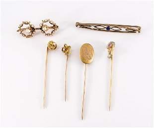 Antique 10K, 14K Stick & Bar Pins