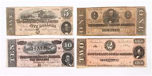 Four pcs Original Confederate Currency