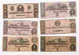 6 pcs Original Confederate Currency