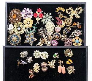 Signed Fashion Pins and Earrings