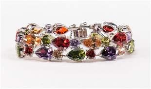 Ladies Sterling Silver 925 Crystal Bracelet