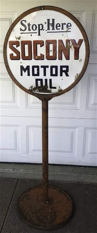 SOCONY round sign on heavy cast base