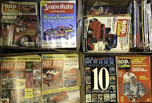 Seven boxes of catalogs, books and magazines