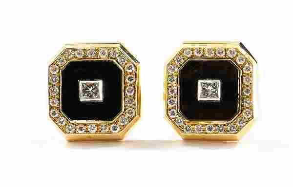 Stunning Pair of Men's 18K Diamond Cufflinks