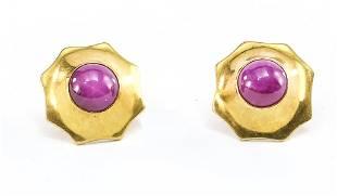 Ladies 14K Star Sapphire Stud Earrings