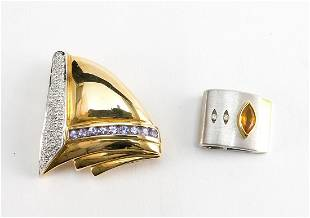 Two 14K Gold & Diamond Modern Slide Pendants