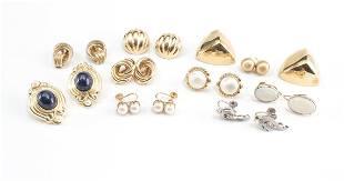 10 Pair 14K Gold Estate Earrings: Pearl, Opal