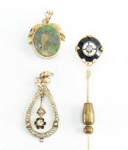 3 pcs 14K Estate Jewelry: Opal & Pearls