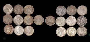 20 Morgan Silver Dollars and Peace Dollars