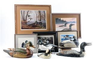 5 Ducks Unlimited Duck Decoys + Matching Prints