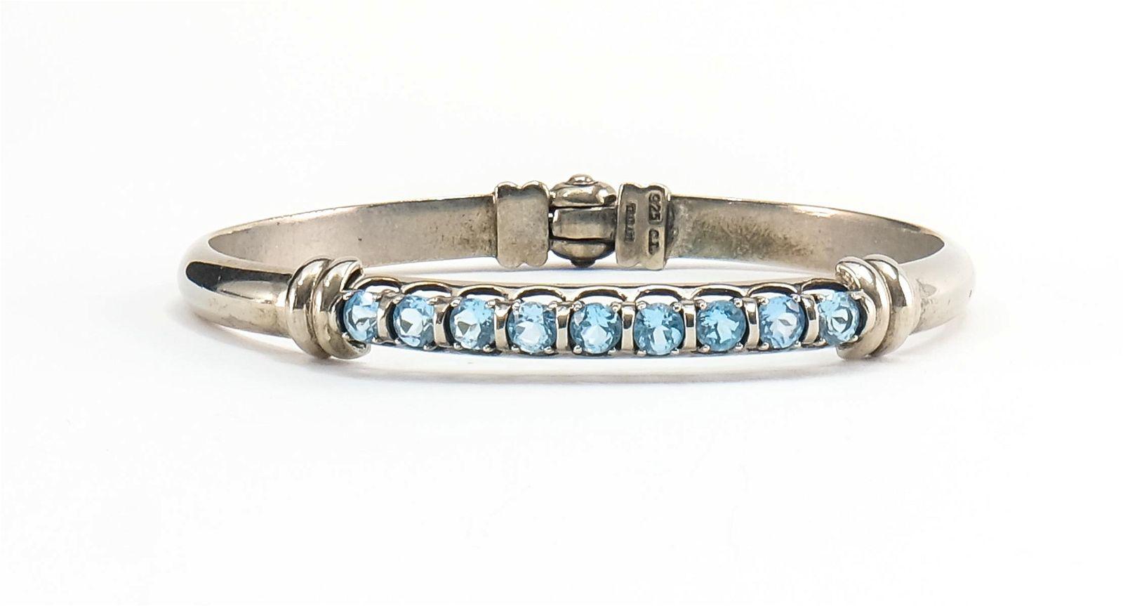 Sterling Silver And Blue Topaz Bangle Bracelet