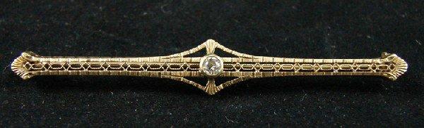 4: 14K Yellow gold & diamond bar pin