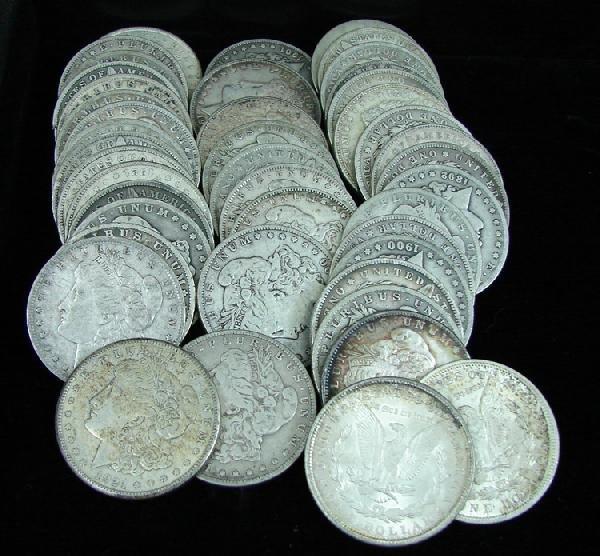 8: Group of 44 Morgan Silver dollars