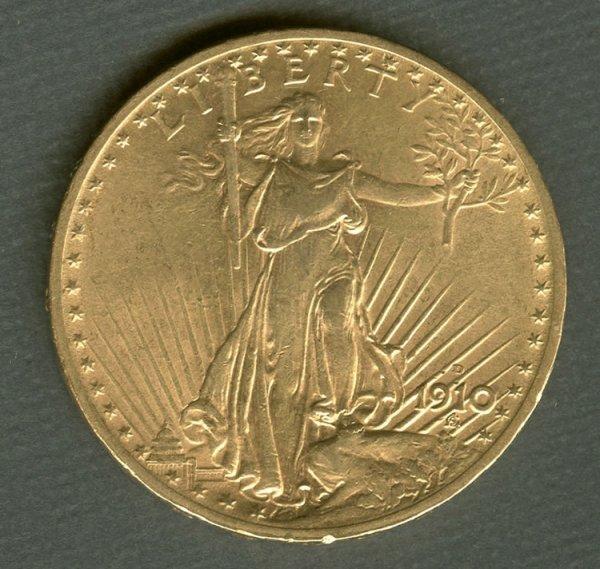 10: 1910 D Double Eagle St. Gaudens $20 Gold