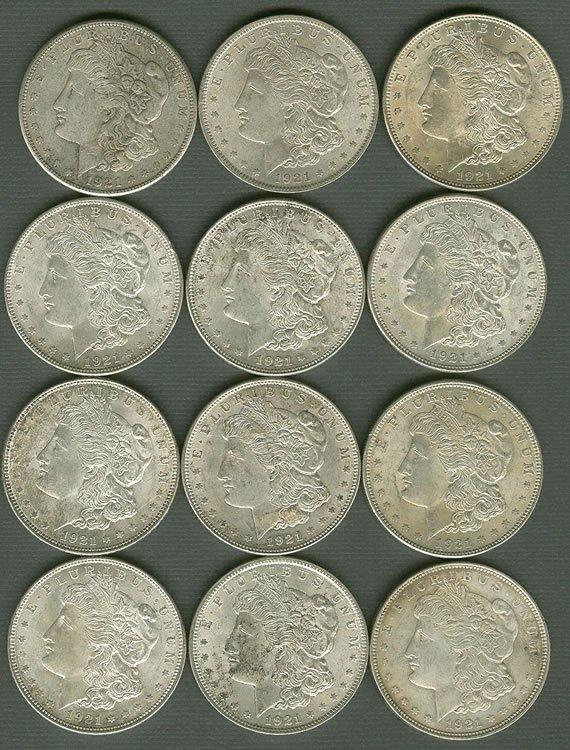 17: Group of 12 Morgan Silver dollars
