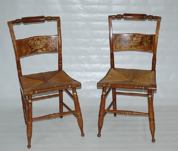 18: Pair of Hitchcock pillowback side chairs