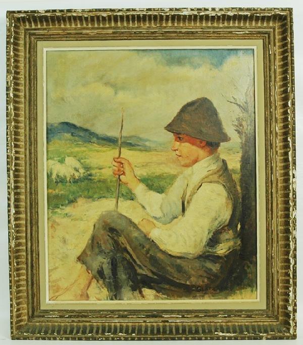20: Ozkar Glatz Oil on Canvas Shepherd Boy