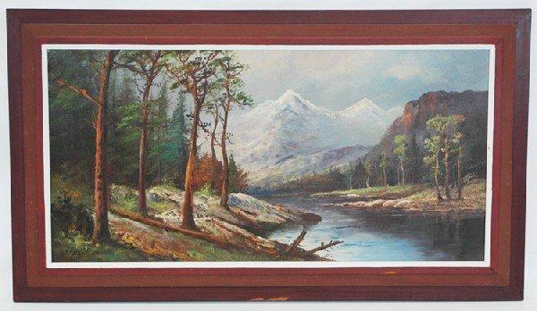25: Oil on Canvas Mountain Landscape F. Matzow