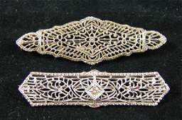 56 Two 10K white gold Victorian Bar pins