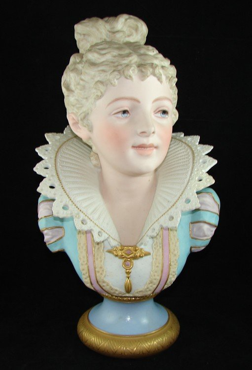 153: Hand Painted Dresden Porcelain Bust