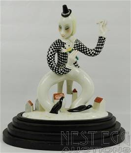242: Art deco Lenci Italian porcelain clown figurine