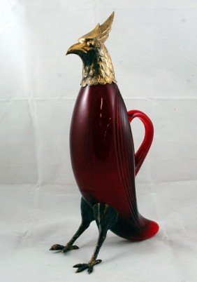 2: Continental ruby glass bird form claret