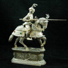 German 800 Silver Jousting Knight W/ Ivory Face