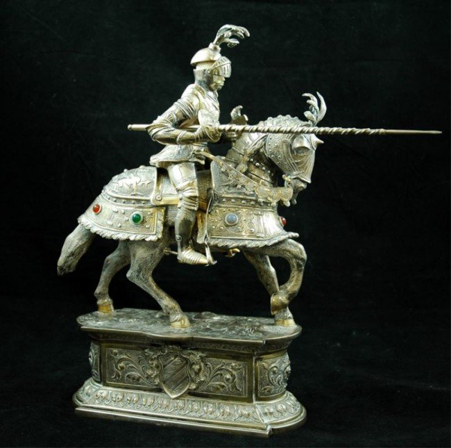 7: German 800 Silver Jousting Knight w/ Ivory face