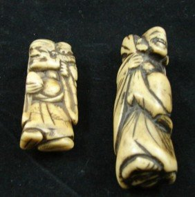 10: Two Chinese Carved Ivory Netsuke
