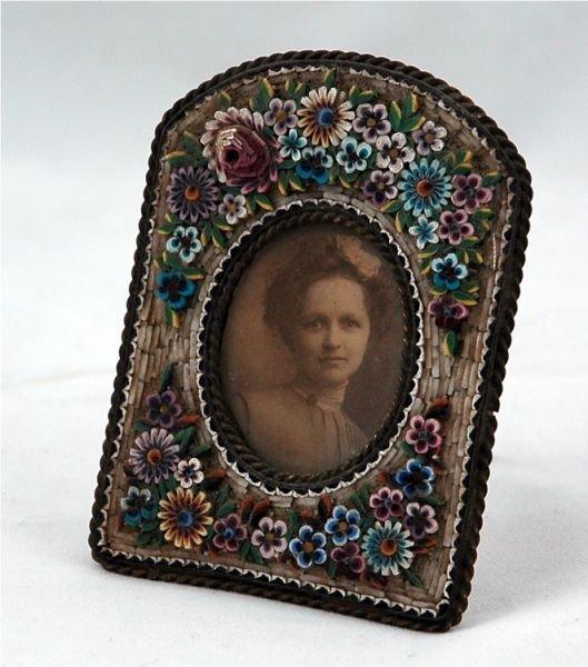 11: Continental miniature micro mosaic portrait frame