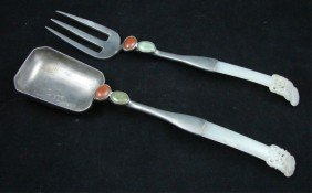 Chinese Carved White Jade Spoon & Fork