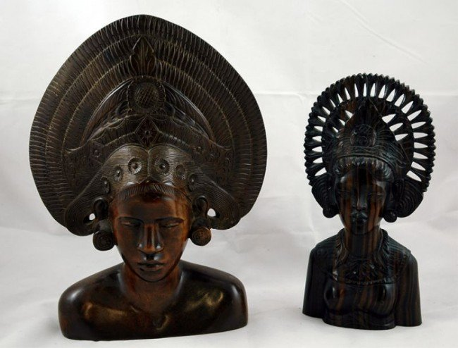 18: Two Balinese Carved wood dancer busts