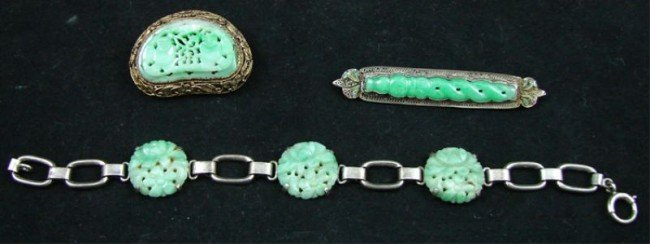 21: group of Chinese Jade & Silver Jewelry