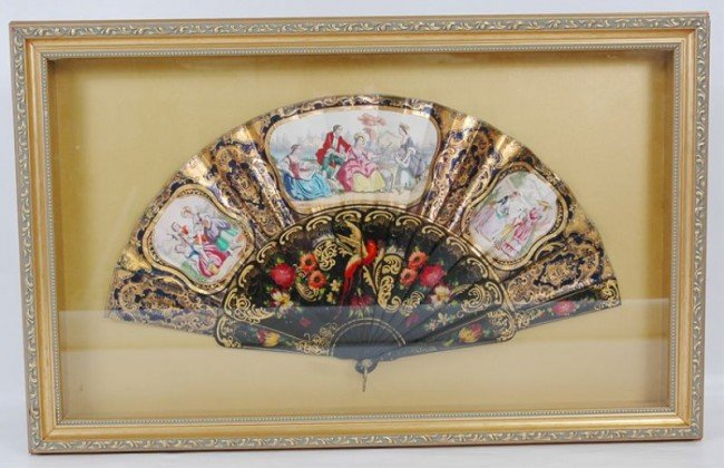 25: Antique French ebonized and paint decorated fan
