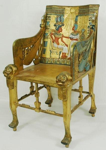 74: Egyptian Revival King Tut Throne chair