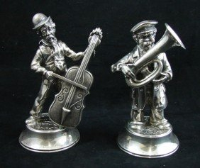 4: Two German 835 Silver Figures of Musicians
