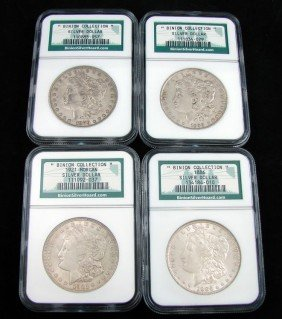 "Four ""Binion Collection"" Morgan Silver Dollars"